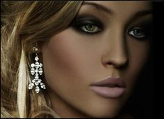 What a great makeup look. Achieve the look by creating a smokey eye using grey, dark brown, and black shades. Contour your cheek bones by simply using a bronzer and highlighter, and finish with a matte pale pink lipstick. Sexy Makeup, Kiss Makeup, Gorgeous Makeup, Beauty Makeup, Makeup Looks, Hair Makeup, Hair Beauty, Bridal Makeup, Wedding Makeup
