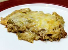 Low Carb Green Enchilada Casserole  I would be authentic and use shredded chihuahua cheese instead of mozz...