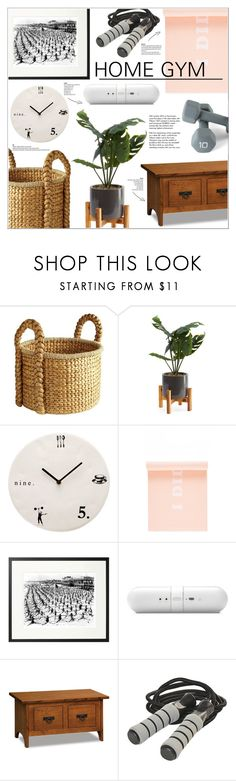 """""""Home Gym"""" by leinapacheco ❤ liked on Polyvore featuring interior, interiors, interior design, home, home decor, interior decorating, Pier 1 Imports, Magenta, ban.do and Pottery Barn"""