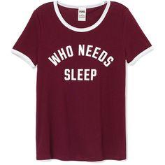 PINK Sleep Crew ($23) ❤ liked on Polyvore featuring intimates, sleepwear, pajamas, tops, shirts, t shirts, red, pink sleepwear, pink pjs and black pajamas