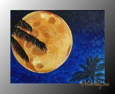 Full Moon BeAcH Painting AcRyLiCs on CaNvAs Ocean by ArtworkbyJeni