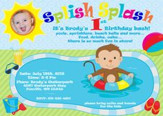First Birthday Pool Party Splish Splash Photo Invitation Brody Printable I Customize You Print