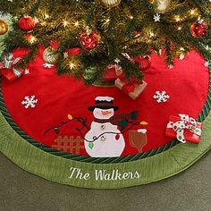 Christmas Family© Embroidered Snowman Tree Skirt