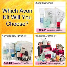 Have you heard? Avon now has 3 kits to choose from when you start your Avon business. Whether you are looking to earn a little extra or start a new career we have the starter kit for you.  Which Kit Will You Choose?