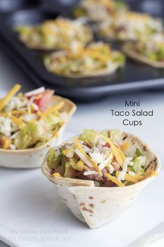 Mini taco salad cups -looks super easy and delicious!