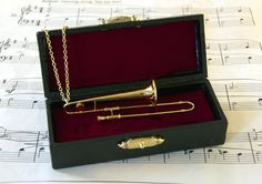 Trombone Necklace in Case  Music Gift  Trombone Jewellery