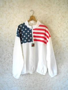 Vintage 80s Surf Style American Flag Pullover by CoolDogVintage