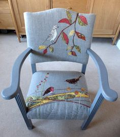 Ideas For Furniture Makeover Sofa Upholstered Chairs Furniture Ads, Funky Furniture, Recycled Furniture, Furniture Upholstery, Furniture Makeover, Painted Furniture, Chair Makeover, Furniture Websites, Furniture Refinishing