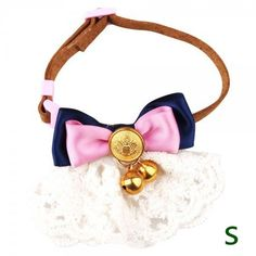Jingle bells with pink and navy blue ribbon bow Microfiber cat Collar (cotton embroidery two-tier lace) Adjustable suede belt with side release buckle *** Remarkable product available now. : Cat Collar, Harness and Leash