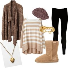 Brown winter outfit with leggings