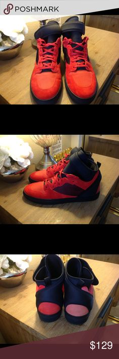 32be0530c8aa Men s Balenciaga Hightops Guaranteed Authentic Balenciaga red suede and black  mesh high-top sneakers styled