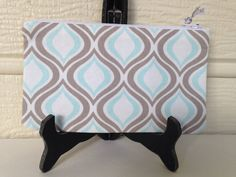 Moroccan Print Makeup Bag Light Blue and Beige by MadebyAmyRenee
