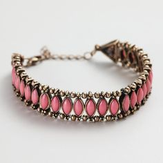 Coral and Gold Row Bracelet - World...     $12.99