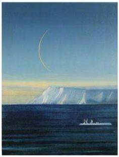 Måne over barrieren Rudolf Steiner, Illustration Art, Illustrations, Great Artists, Norway, Waves, Moon, Paintings, Outdoor