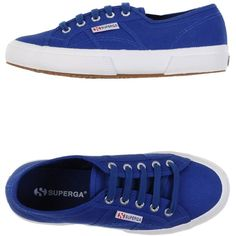 Superga Sneakers ($76) ❤ liked on Polyvore featuring shoes, sneakers, blue, superga sneakers, flat sneakers, round cap, round toe sneakers and superga