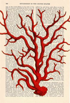 Coral Vintage Book Print Dictionary or Encyclopedia Page by PRRINT, $8.00