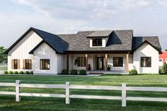 A covered front porch and board and batten siding give this modern farmhouse plan great curb appeal. Inside, welcoming views extend into the great room with cathedral ceilings and exposed beams. Future House, Modern Farmhouse Exterior, Farmhouse Homes, Farmhouse Decor, Farmhouse Home Plans, Farmhouse Front Porches, Rustic Decor, Farmhouse Bedrooms, Farmhouse Renovation