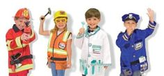 """Dress Up Corner Provide the children with lots of costumes and props from various workers in your  community.  Include stethoscopes, lab coats, hardhats, safety goggles, work boots,  high heels, tool belts, calculators, old cell phones, old name badges or play police  badges, fireman's hats, books, pencils, """"post-it"""" type note pads, play cash registers,  """"exam"""" tables, chairs, shelves, play grocery items, play shopping trolleys, etc., etc."""