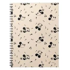 Vintage Mickey & Minnie Music Pattern Notebook Classic Mickey Mouse, Mickey Mouse Club, Mickey And Friends, Vintage Shops, Retro Vintage, Create Your Own, Create Yourself, Vintage Mickey, Lined Page