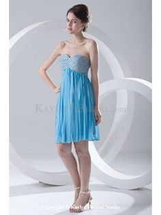 Chiffon Sweetheart Empire line Short Sequins Prom Dress