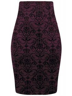 Double Trouble Women's High Waist Damask Pencil Skirt in Burgundy Wine