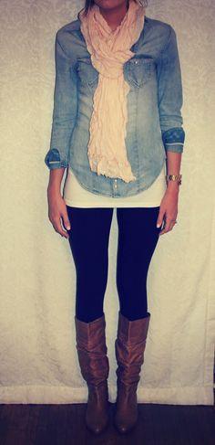 i'd rock: black leggings (walmart or f21).  white tank (f21 or target).  denim shirt (target).  brown boots (target).  pastel scarf (hm).