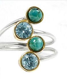 Blue Topaz & Chrysocolla Gemstone Ring Sz7. Starting at $1 on Tophatter.com!