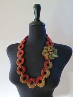 Dark Gray Brown Khaki Color Statement Crochet Rings Fiber Collar Necklace with Crocheted Flower