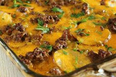 Quick and Easy Cheesy Scalloped Potato and Ground Beef Casserole. I made this for dinner tonight- delicious!