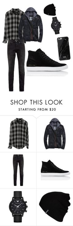 """Untitled #3"" by westycat ❤ liked on Polyvore featuring Topman, Common Projects, Emporio Armani, Hurley, Native Union, men's fashion and menswear"