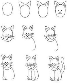 Draw Cats cartoon critters - learn to draw lessons - using shapes - Doodle Art, Doodle Drawings, Easy Drawings, Animal Drawings, Cat Doodle, Drawing Lessons, Art Lessons, Drawing Tips, Cat Drawing
