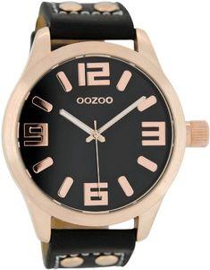 Oozoo-XL-Armbanduhr-SchwarzRosgold-C1159