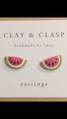 Watermelon Earrings - beautiful handmade polymer clay jewellery by Clay &… Cute Polymer Clay, Cute Clay, Fimo Clay, Polymer Clay Projects, Polymer Clay Charms, Polymer Clay Creations, Handmade Polymer Clay, Clay Crafts, Ideas Joyería