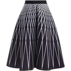 High Waisted Geometric Print Skirt featuring polyvore women's fashion clothing skirts high-waisted skirts high waisted knee length skirt geometric skirt geometric print skirt blue skirt