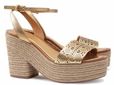 Gold Eyelet Espadrille Clogs by Tory Burch