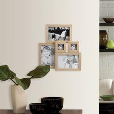 Decorar paredes con fotos. Marco de madera portafotos múltiple