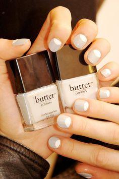 Grey and White Half Moon Nails