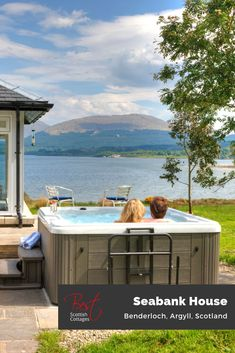 Loch side light filled luxury, on the sparkling shores of Loch Creran, near Oban – Seabank House minutes from the beach with spiralling staircase, large hot tub, stunning views and maximum space for superb family relaxation.