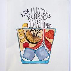 Kim Hunters Rainbow Old Fashion.  Illustration by Madeline Trait