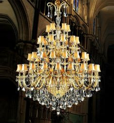 30-48 arms church large led chandeliers lustres de cristal hotel long gold champagne crystal chandelier lamp shade led fixture