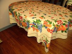 Beautiful  Tablecloth Bright Colors Screen Print Look 66 X 70