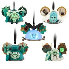 Disney Christmas Ornament Ear Hat Set - The Haunted Mansion Characters include 3 Hitchhiking Ghosts, The Bride, and Madame Leota Madame Leota ornament has light-up feature with on/off switch. The Haunted Mansion Ear Hat Ornament Set - Limited Edition Haunted Mansion Disney, Haunted Mansion Decor, Disney And More, Disney Love, Disney Magic, Disney Stuff, Disney Halloween, Halloween Crafts, Halloween Ideas