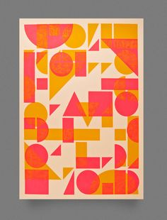 Shapes Screen Print by Two Times Elliott , via Behance Textures Patterns, Print Patterns, Poster Prints, Art Prints, Posters, Design Poster, Branding, Letterpress Printing, Print Logo