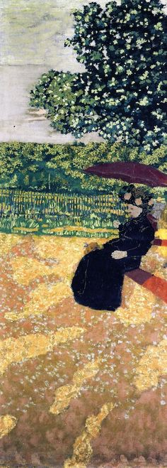 Édouard Vuillard - Les jardins publics (Le parasol rouge)