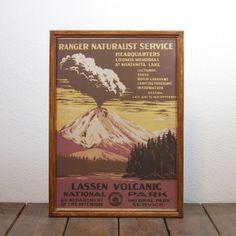 ビンテージ ポスター A3サイズ(複製)-1938 Lassen Volcanic National Park(ラッセン火山国立公園)-