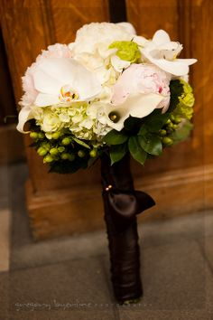 Hydrangea, calla and orchid bouquet