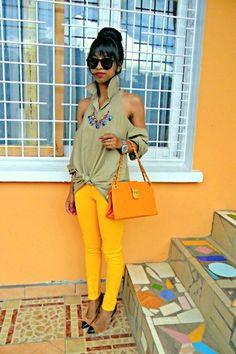 brights + neutral love this fashion the shirt is cute!