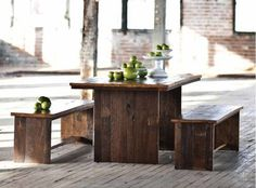 """HomePort Unysn Elm Dining Table and/or Long Benches 