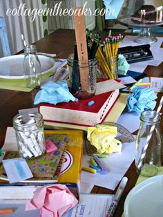 Fun back to school tablescape. Wish I knew what my mom did with our old dictionary! via Cottage in the Oaks