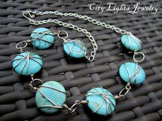Turquoise Howlite Circles Necklace Wire by CityLightsJewelry, $35.00
